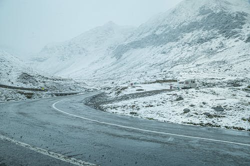 Curved Road Near Snowy Mountain