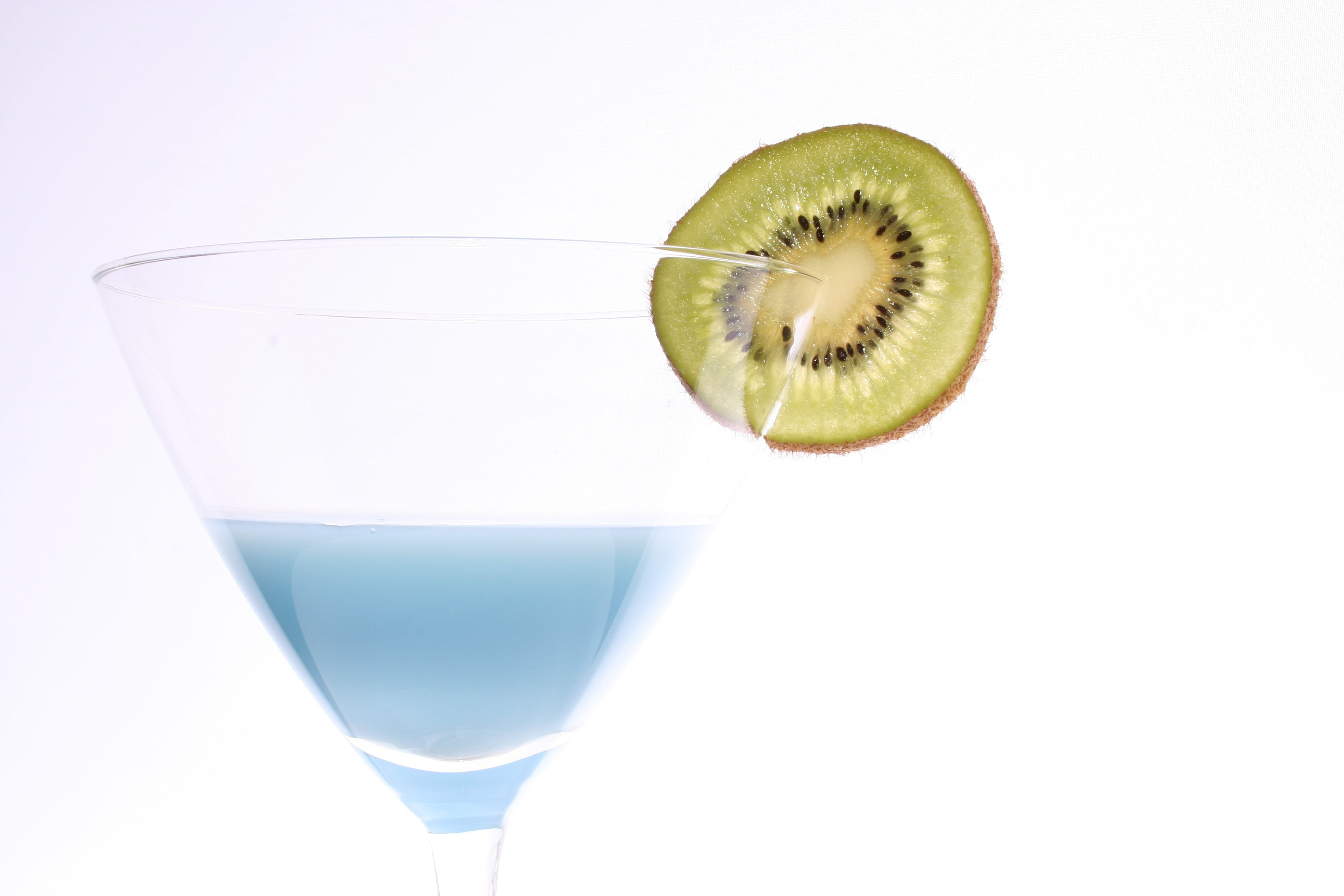Sliced Kiwi Fruit in Clear Cocktail Glass
