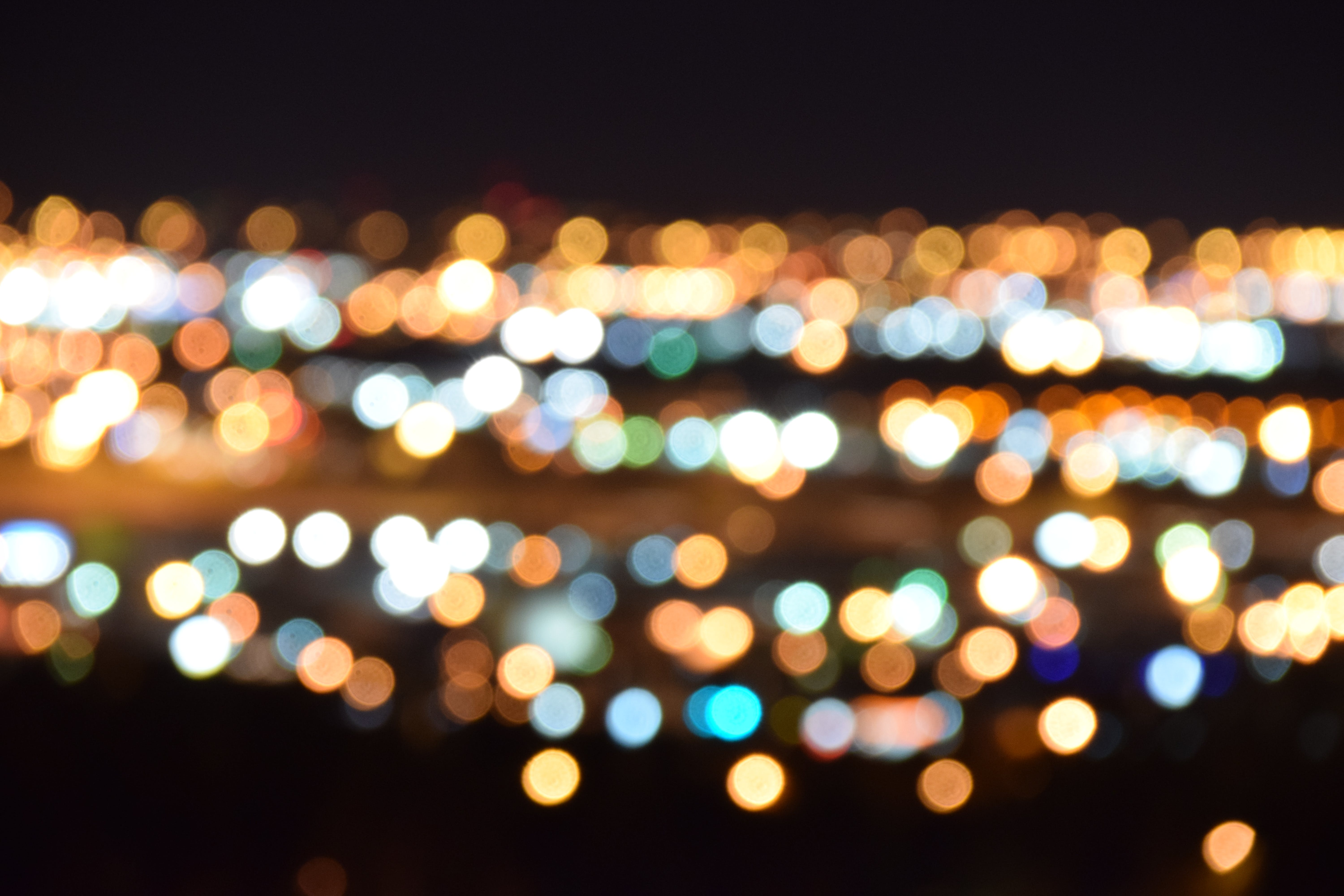 White and Yellow Bokeh Lights Digital Wallpaper