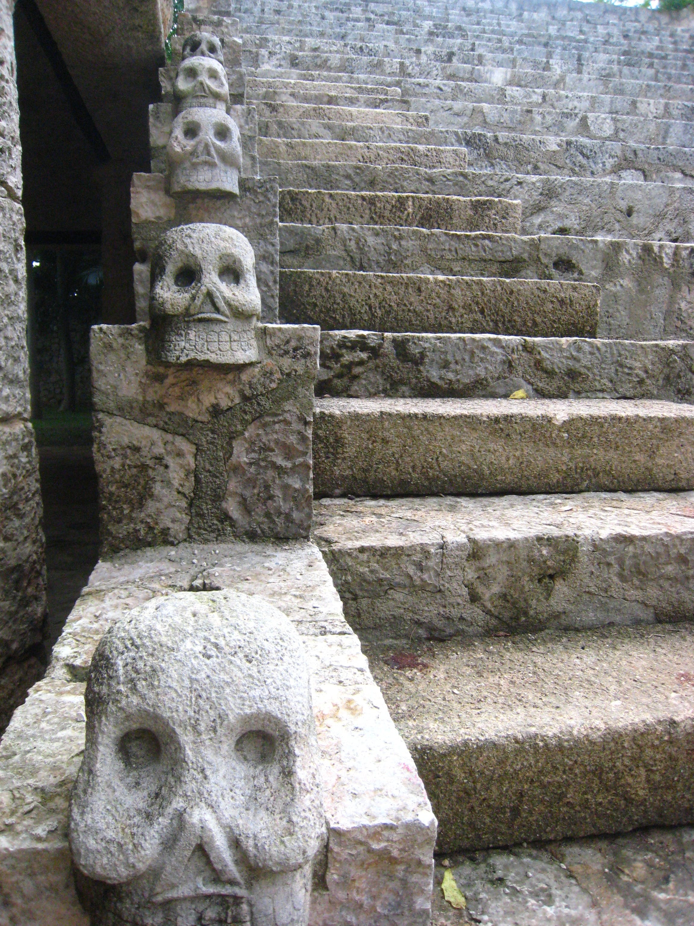 Free stock photo of rock stairs, skulls, temple