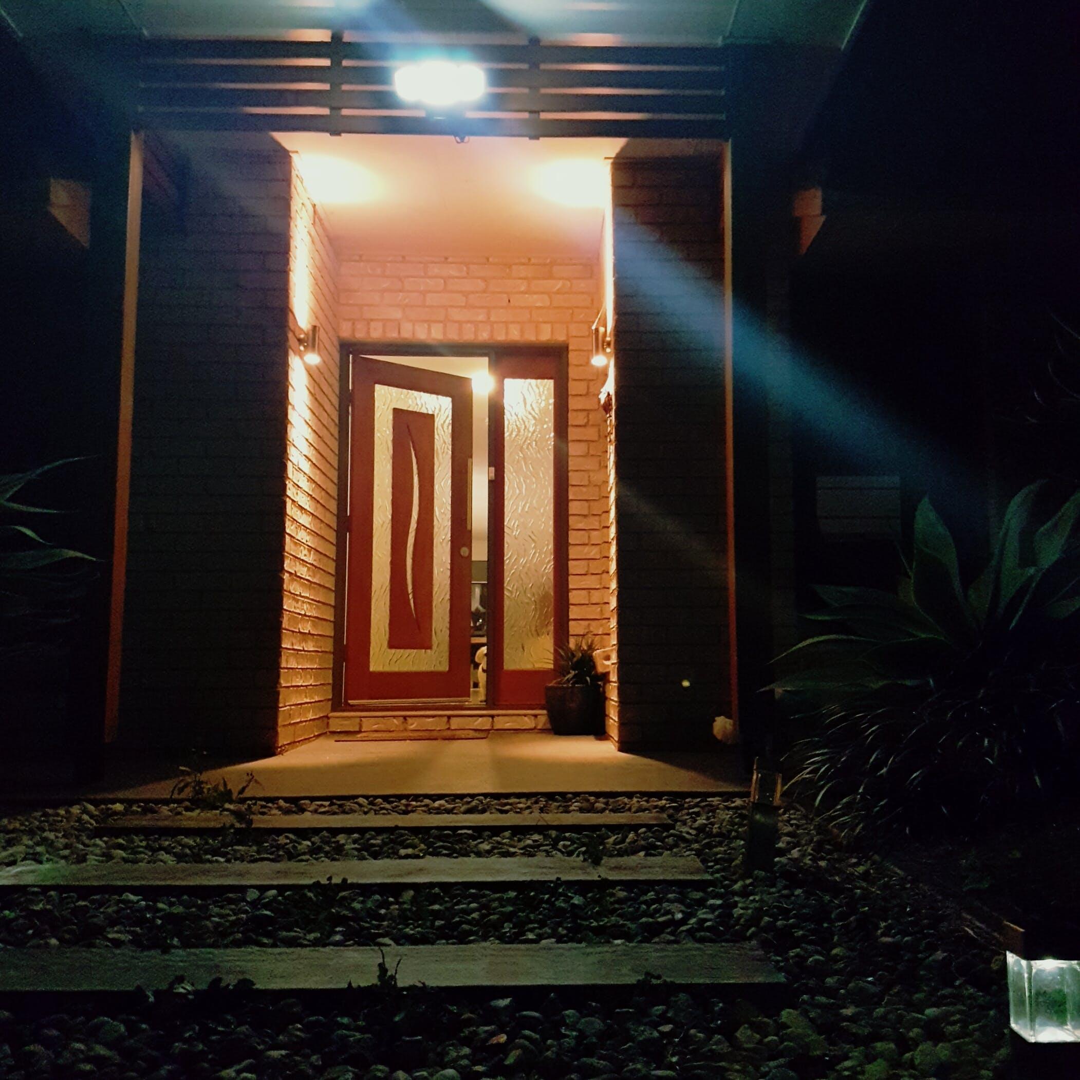Free stock photo of door, exterior home, front door, night