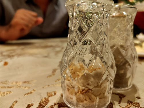 Free stock photo of glass, rock salt, salt pot