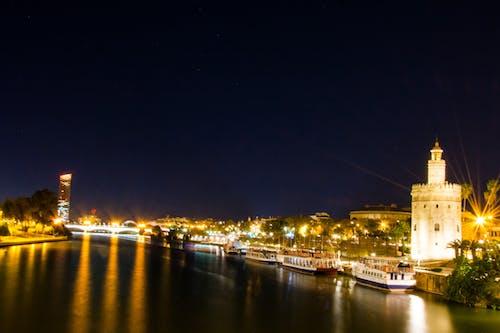 Free stock photo of barcos, city, city night