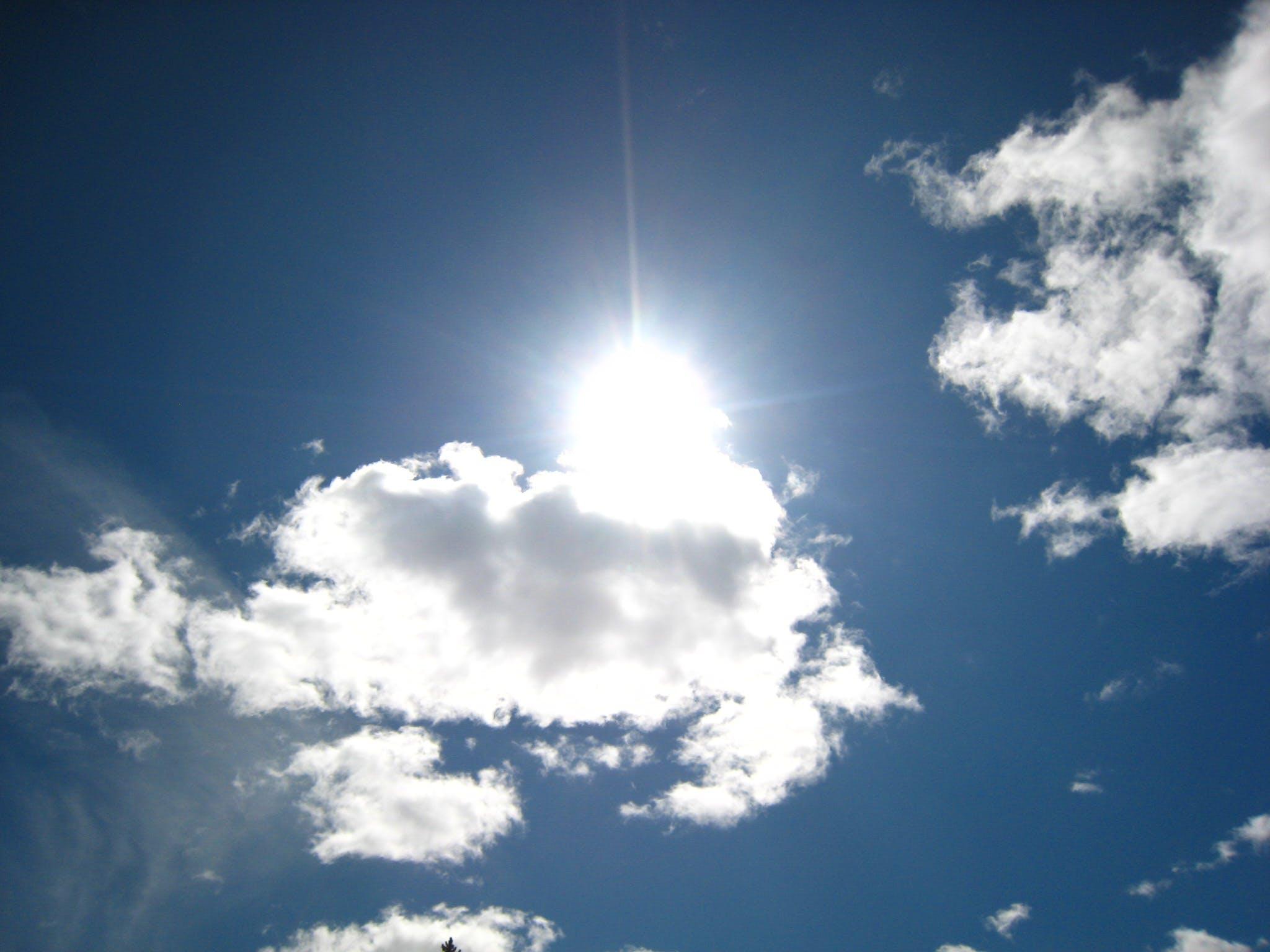 Free stock photo of blue sky, clouds, sun