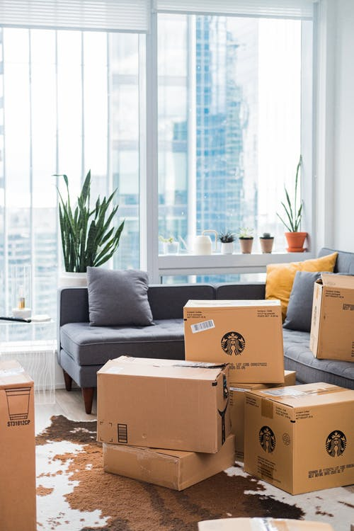 Cardboard Boxes on Living Room