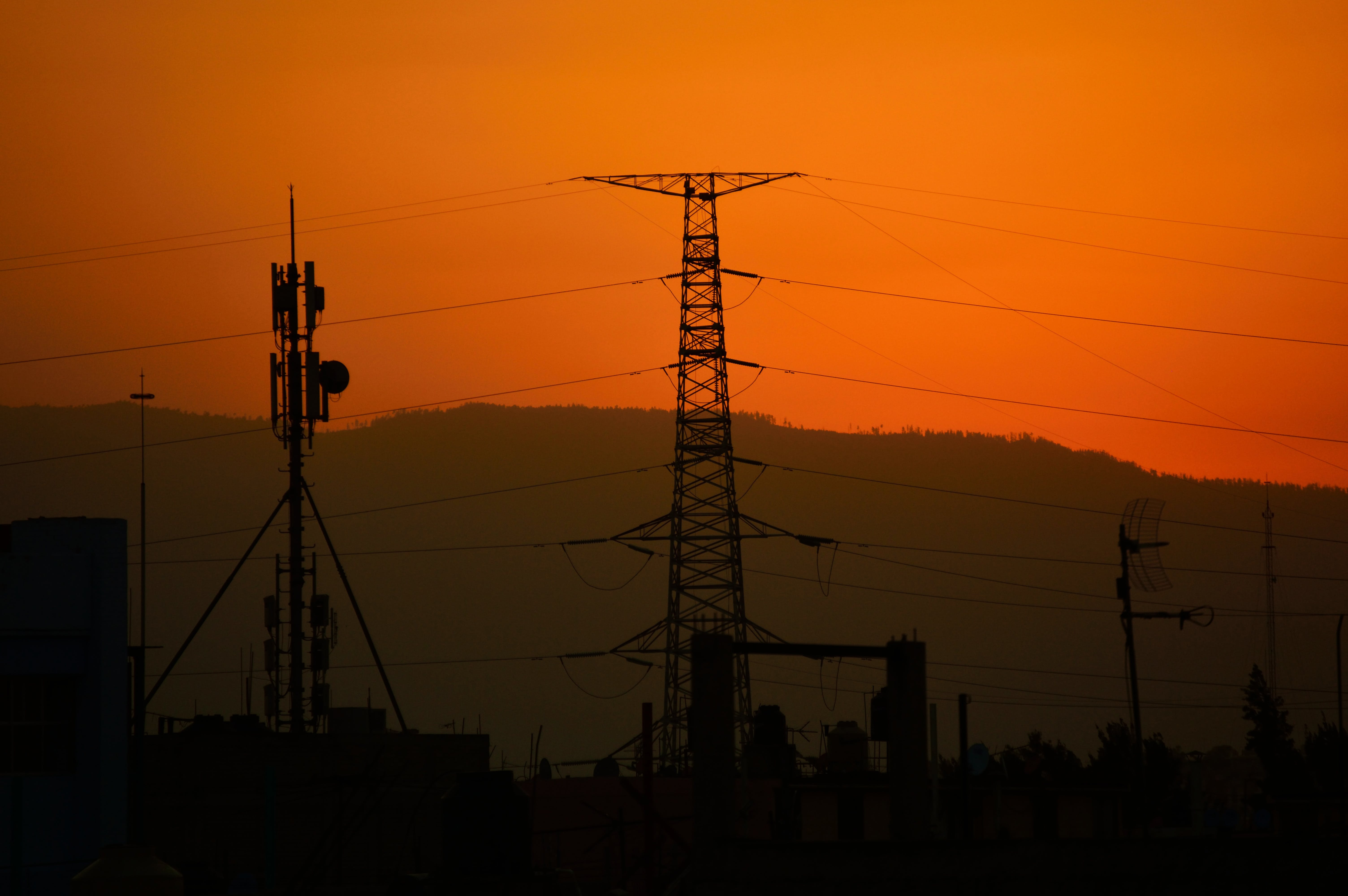 Silhouette of Transmission Tower