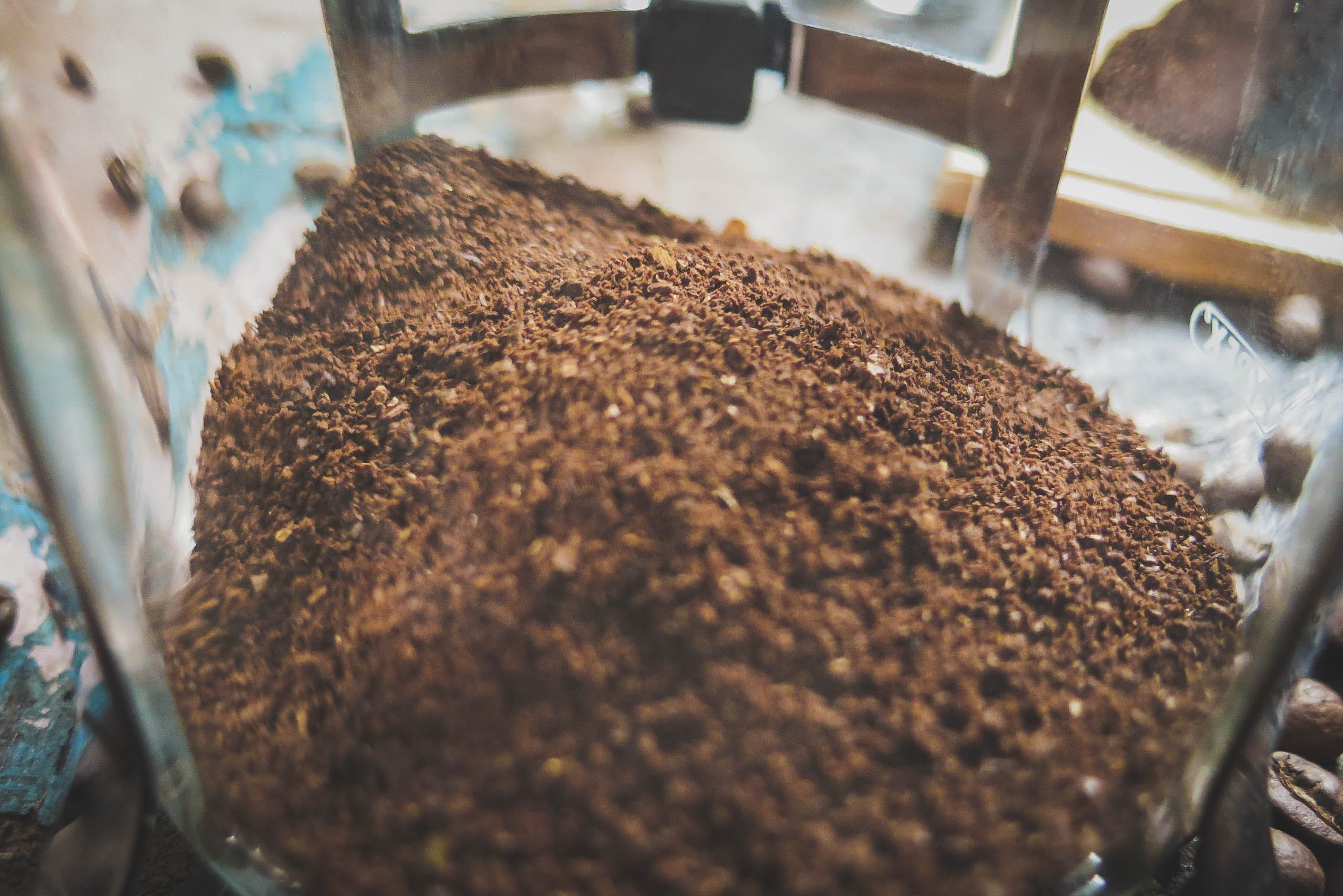 Free stock photo of coarse-ground coffee, coffee, French Press, table