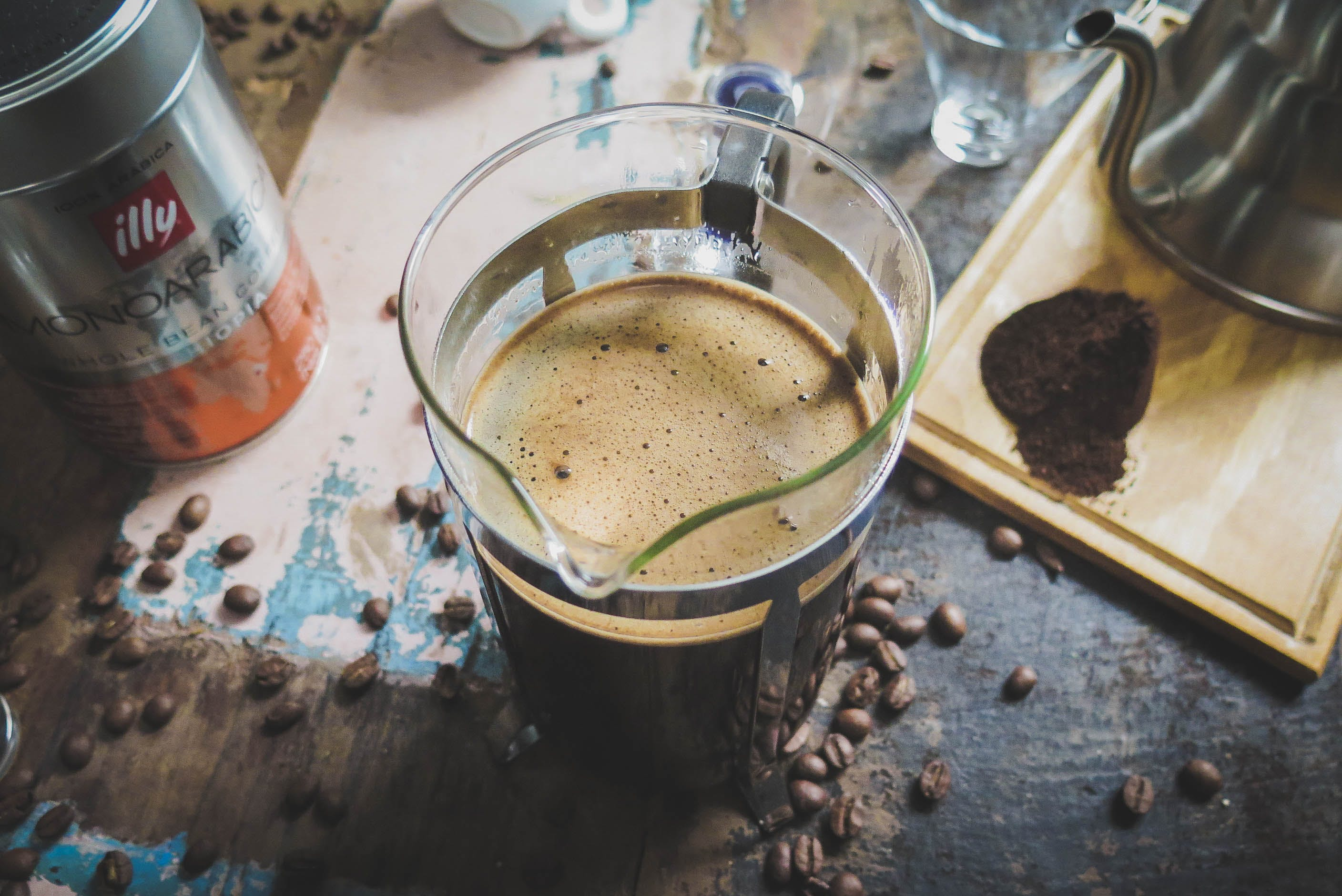 Free stock photo of beans, coffee, table, French Press