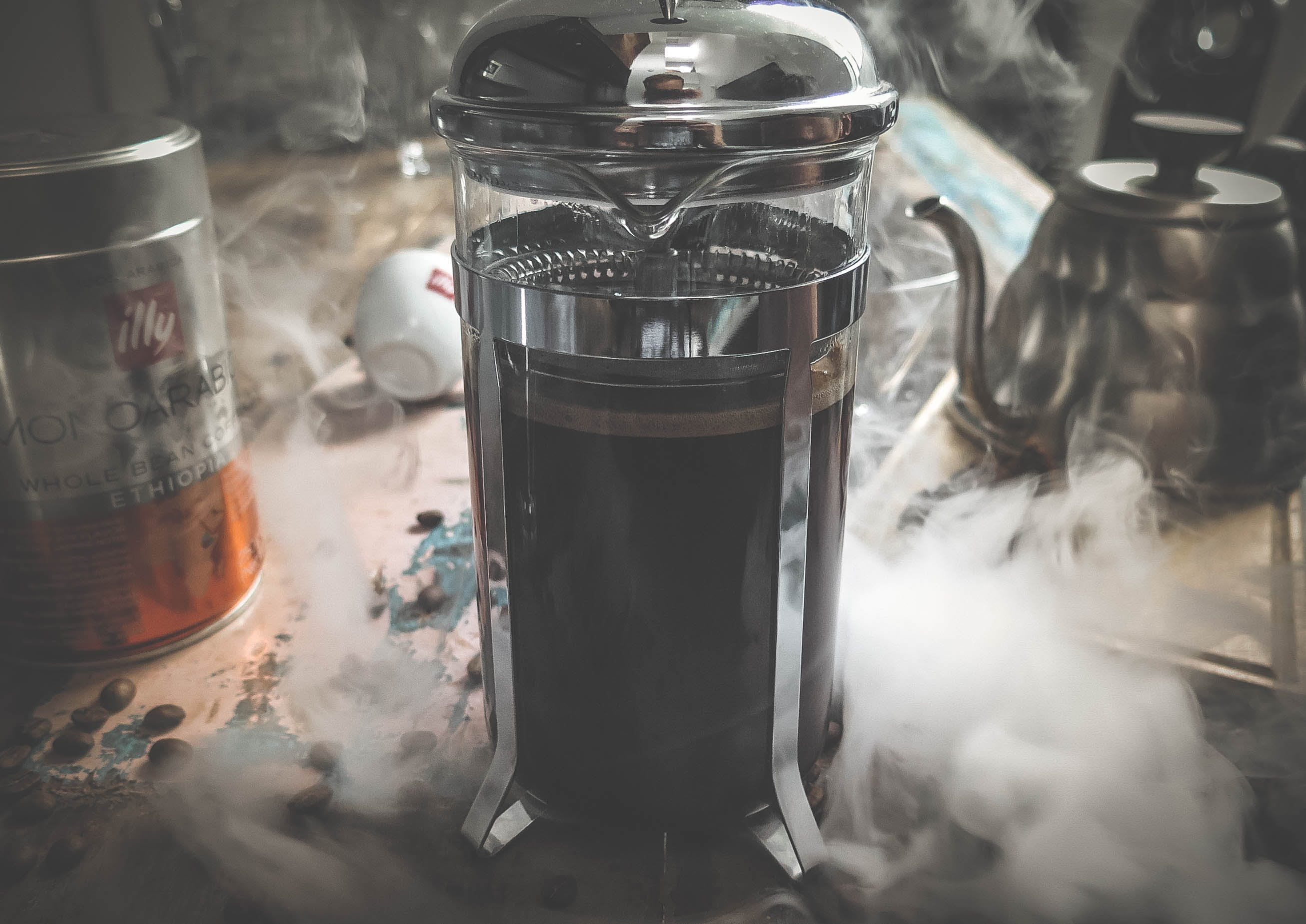 Photography of Heating French Press