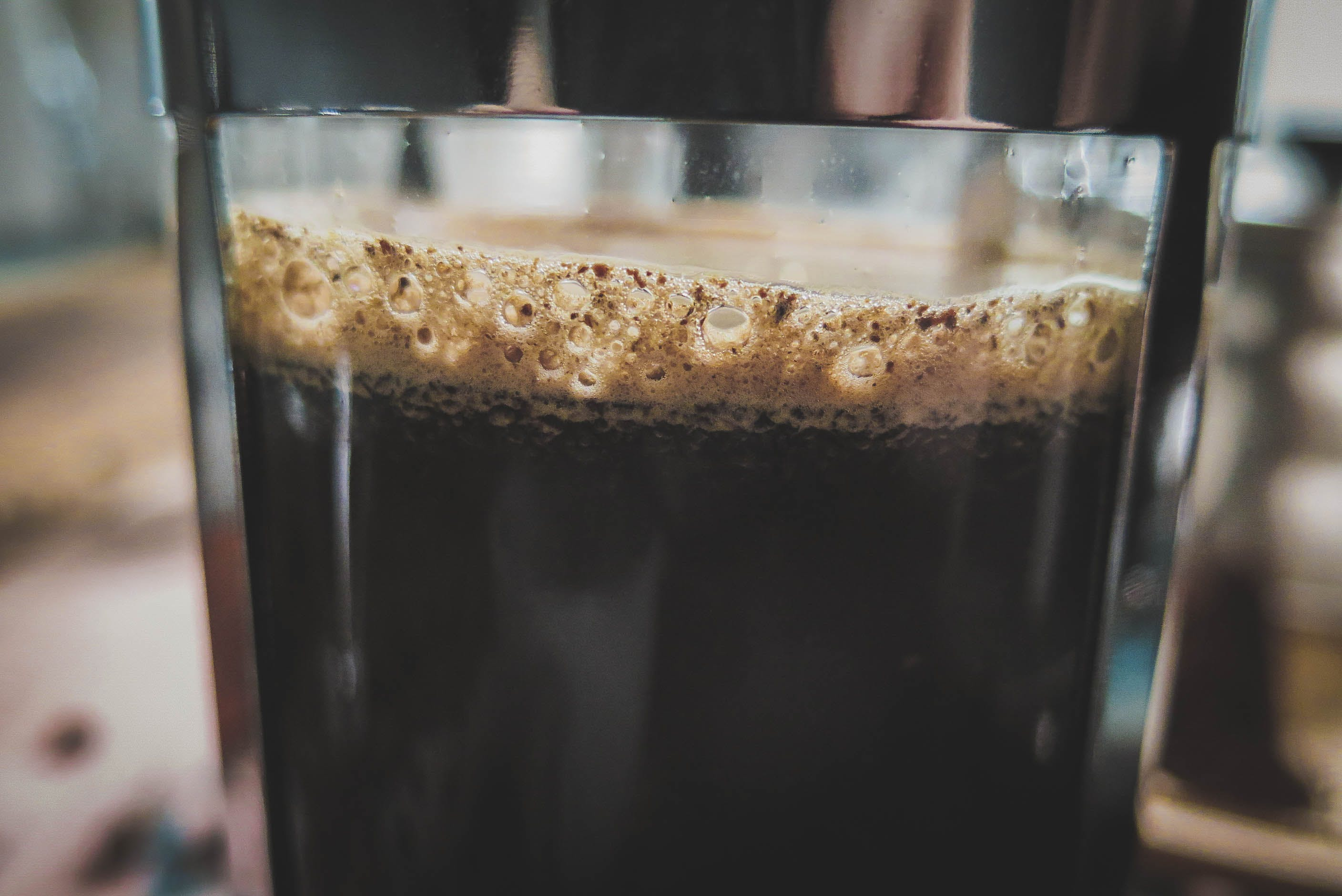 Free stock photo of coffee, foam, French Press, macro
