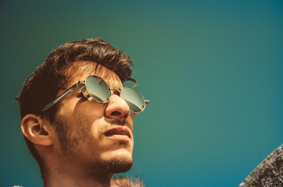 adult, blue sky, eyewear