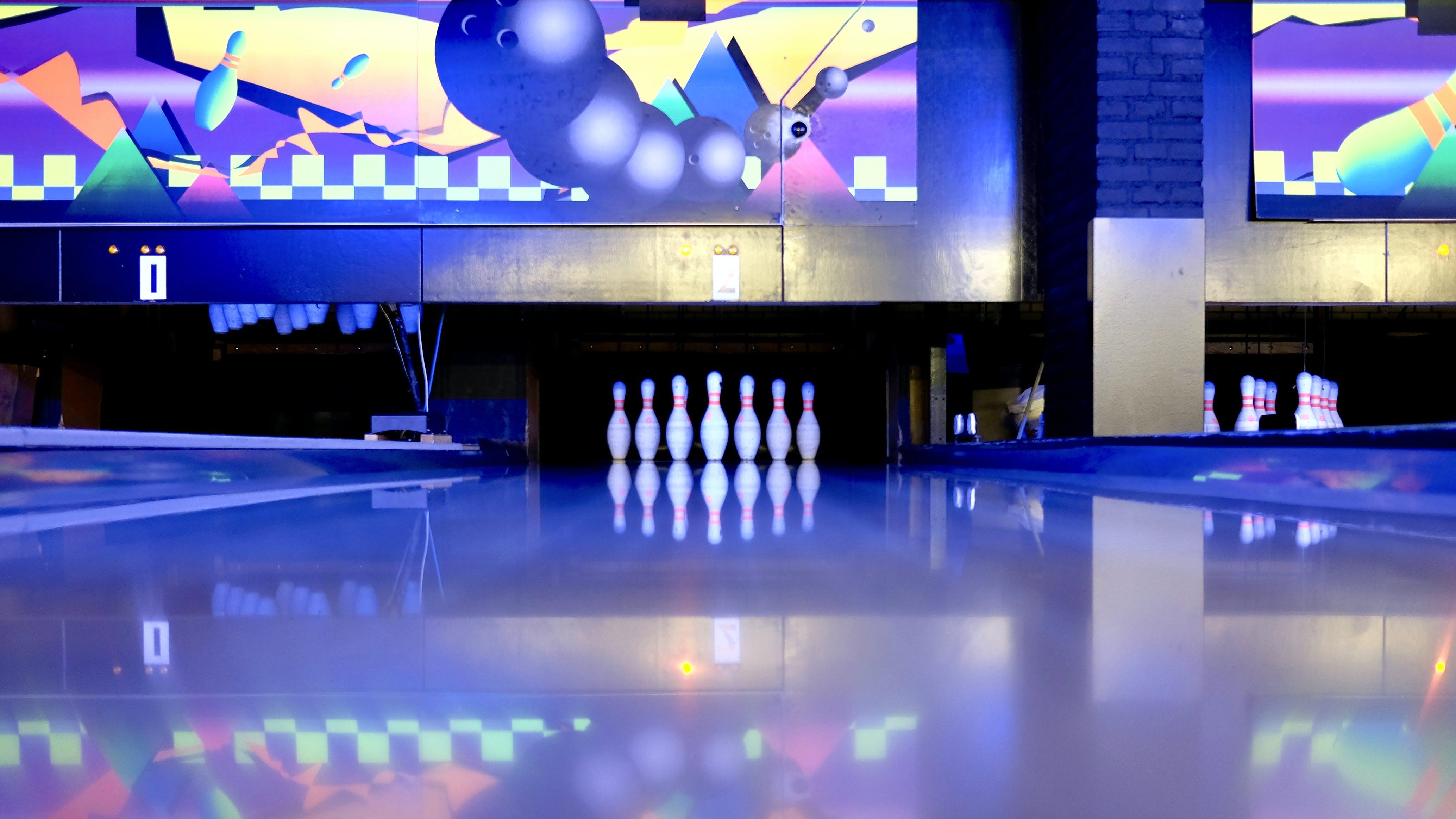 Bowling Pins Set on Ground