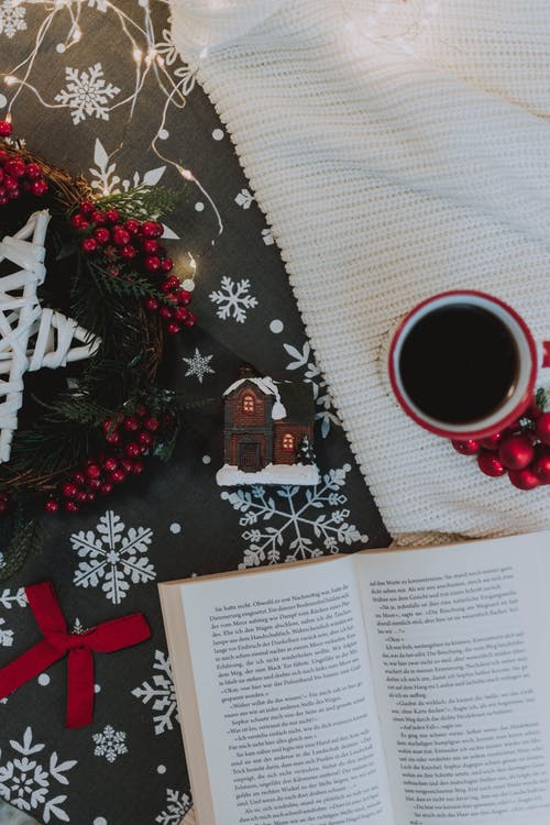Homey composition of Christmas attributes with open book and coffee