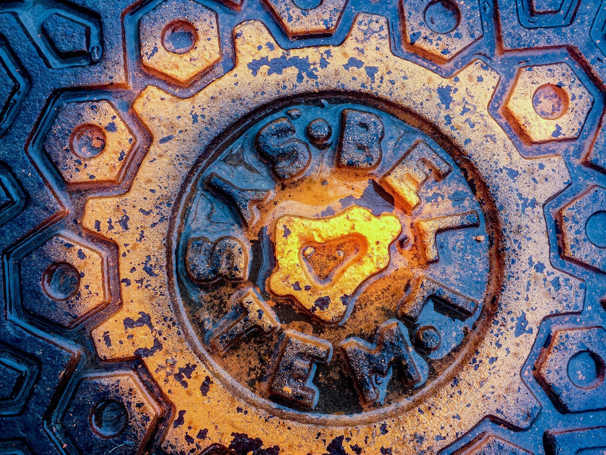 Free stock photo of color, geometric shapes, iron, manhole cover