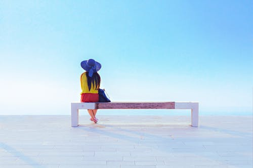 Free stock photo of alone, background, bench, blue