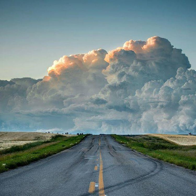 Free stock photo of cloud bank, clouds, old highway