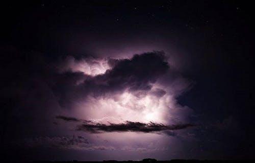 Darmowe zdjęcie z galerii z błyskawica, burzowe chmury, nocna burza, nocne niebo