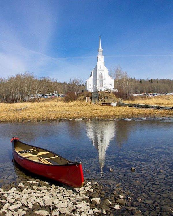 Free stock photo of canoe, church, country lake