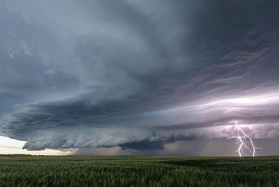 Free stock photo of fork lightning, lightning, prairie field