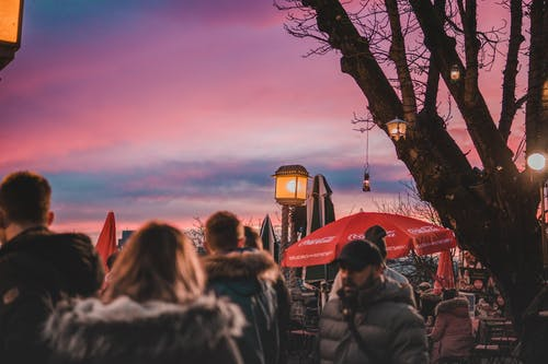 Free stock photo of dusk, people, pink sky