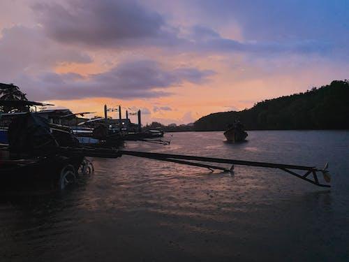 Free stock photo of boat, evening, rain, river