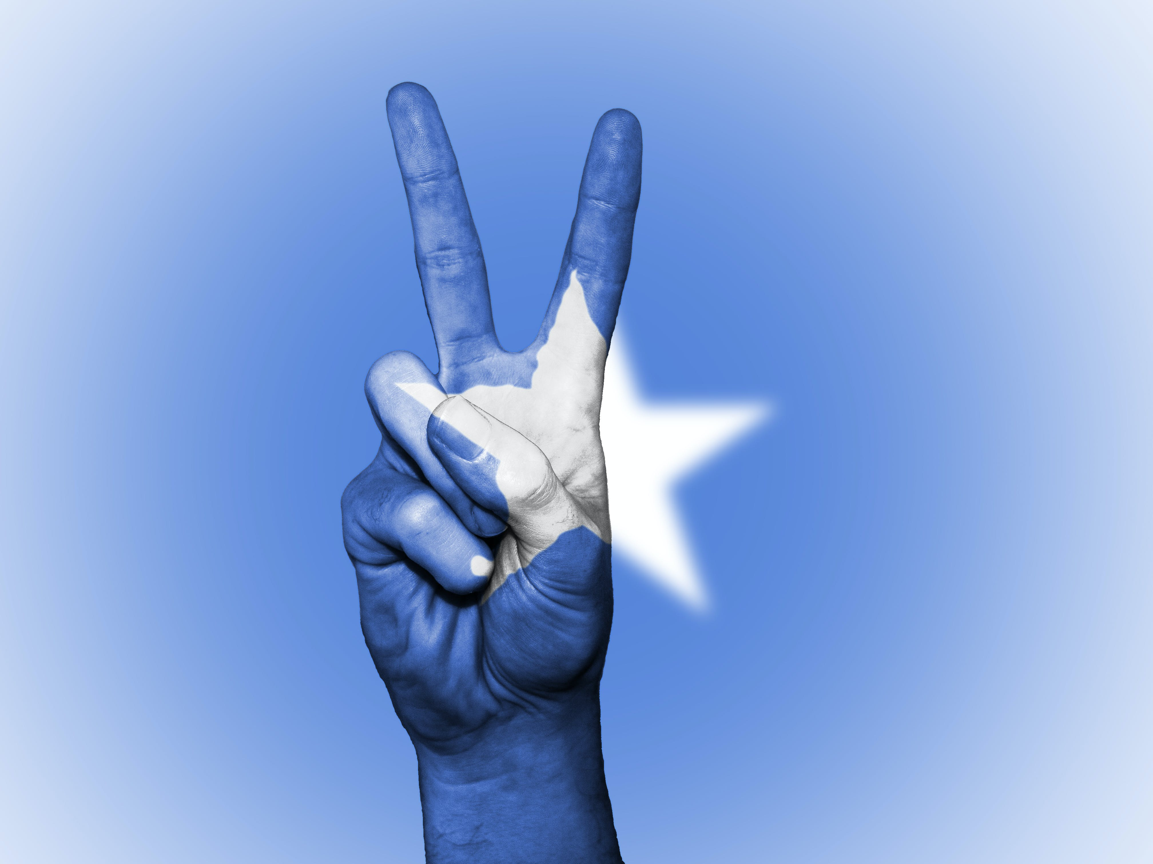 Blue and White Star Painted Hand in Peace-sign Gesture