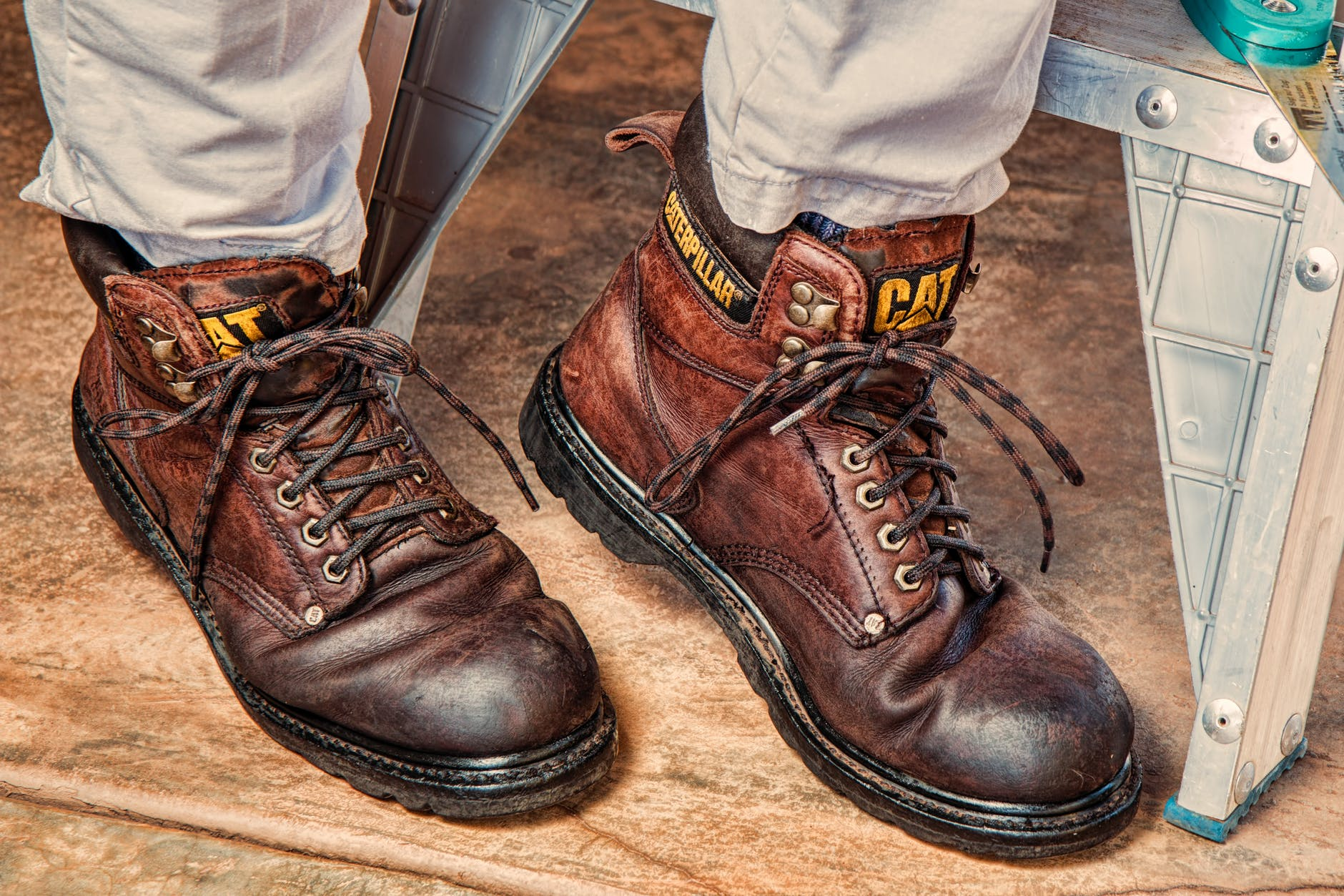 Brown leather caterpillar steel toe boots