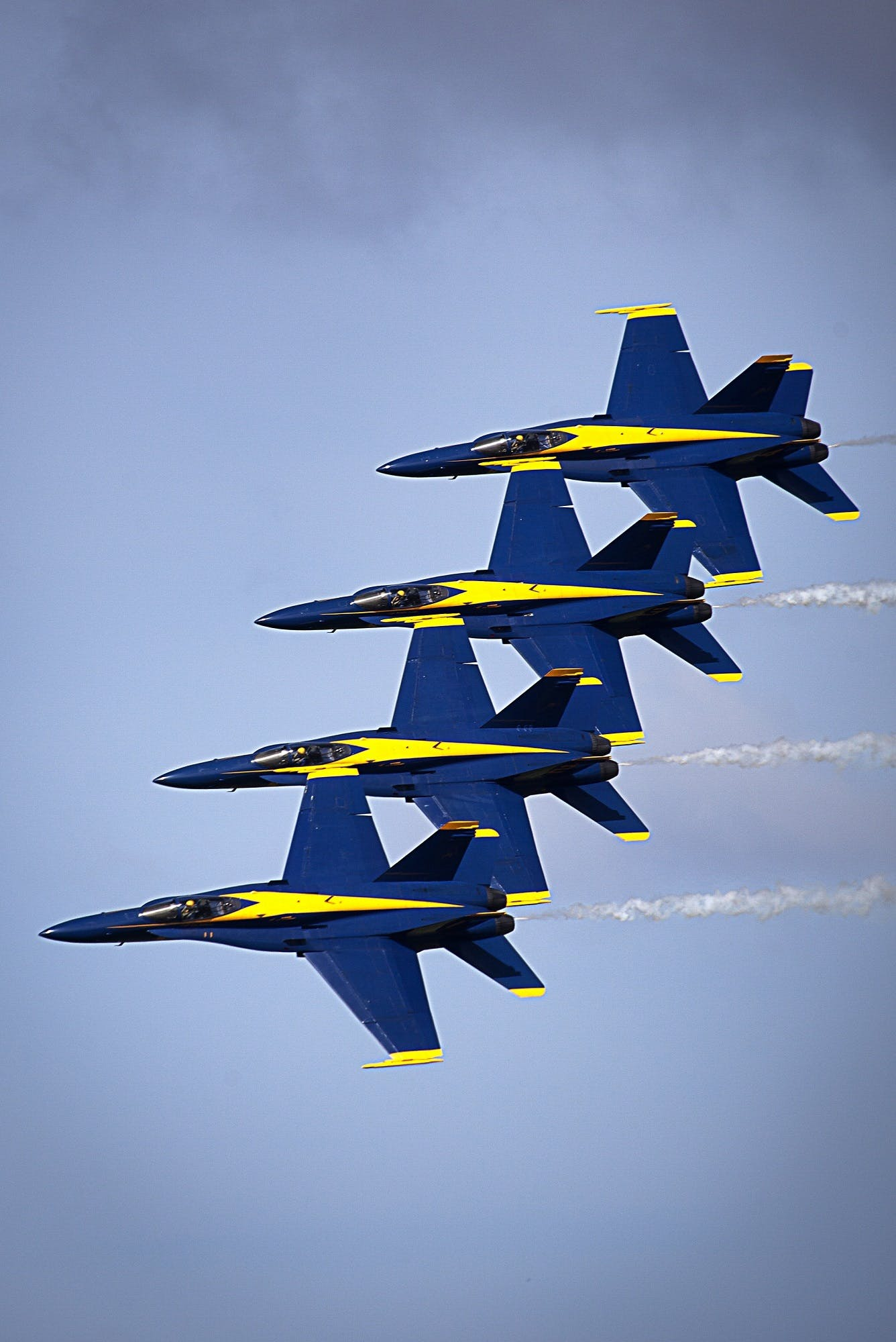 Four Blue-and-yellow Fighter Planes at the Sky