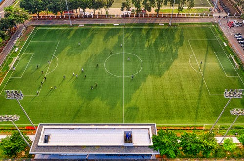 Aerial Photo of People Playing Soccer