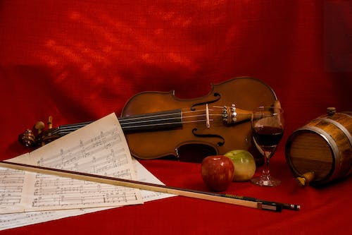 Free stock photo of apples, dark red, glass of wine, music