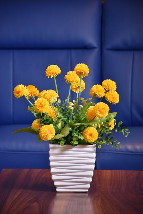Free stock photo of artificial flowers, flower pot, yellow flowers