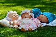 cute, grass, dolls