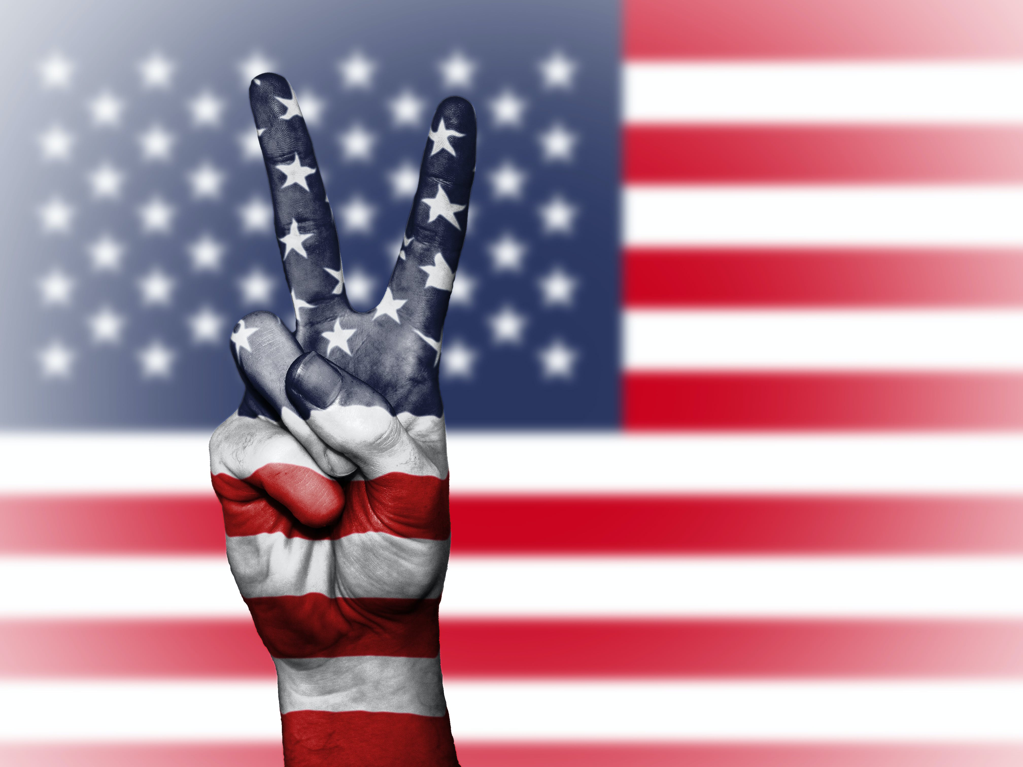 Peace Hand Sign With Usa Flag Graphic