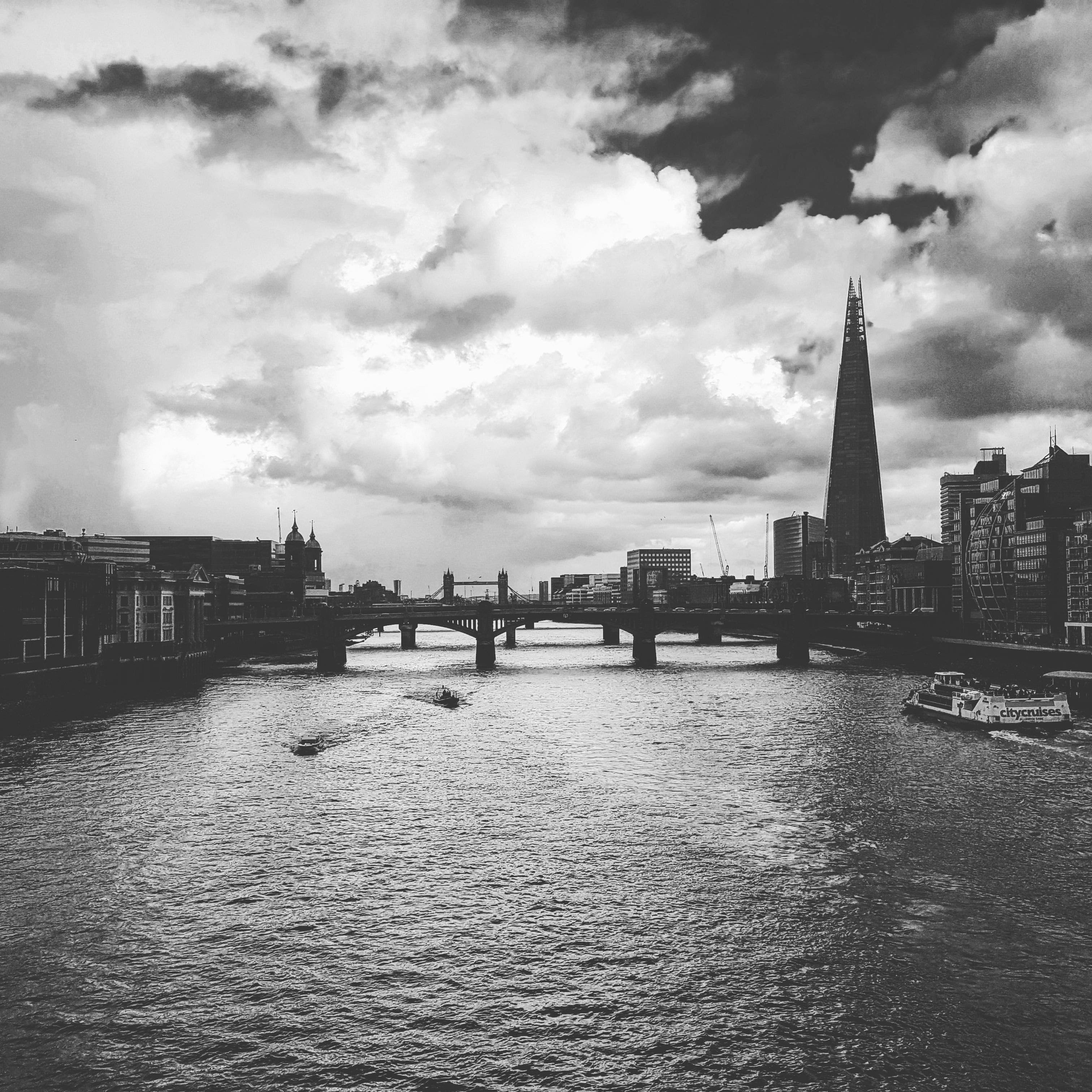 Free stock photo of bridge, cloud, london, black and white