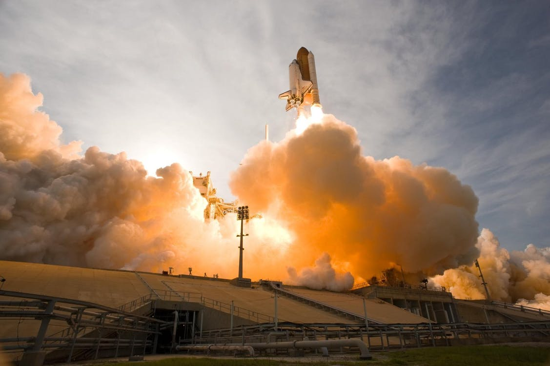 Launching of White Space Shuttle