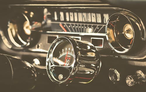 Free stock photo of armatures, dashboard, ford-mustang, oldtimer