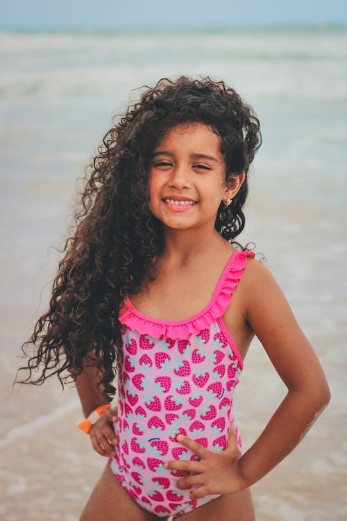 Girl Wearing Pink Bathing Suit