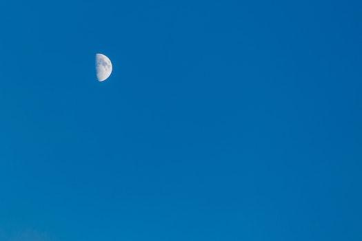 Free stock photo of sky, moon, blue sky, half moon