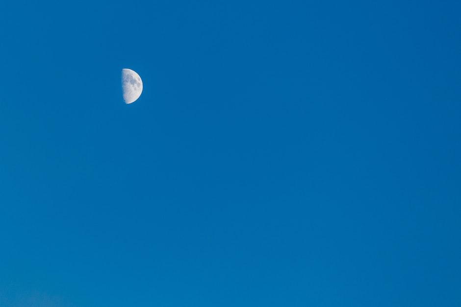 blue sky, half moon, moon