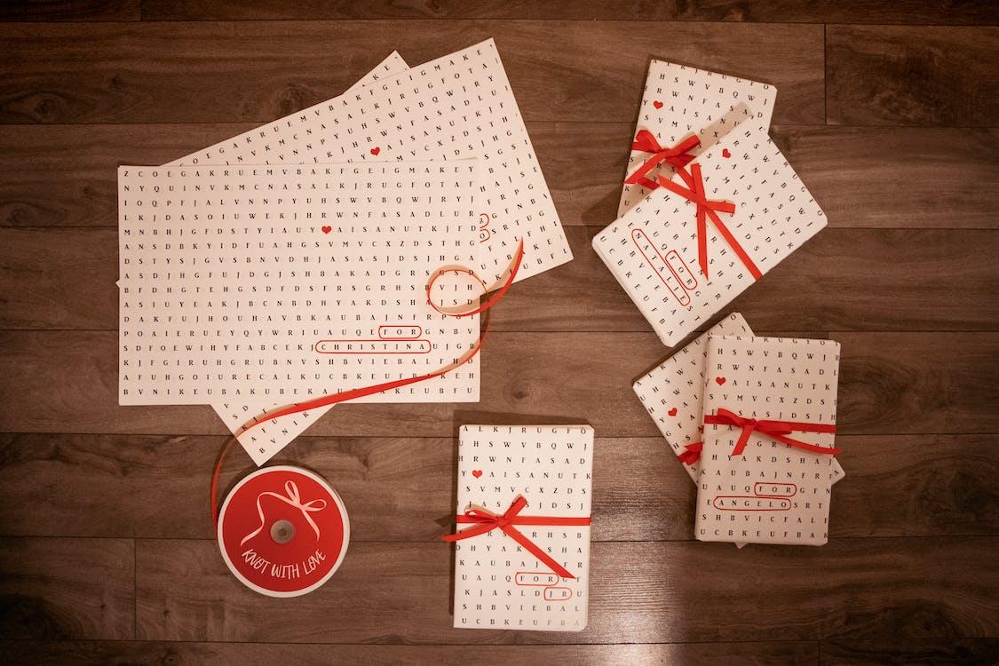 book, bow, card