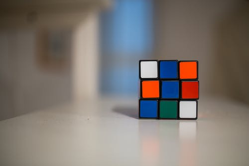 Blue and White Orange Green Rubik's cube