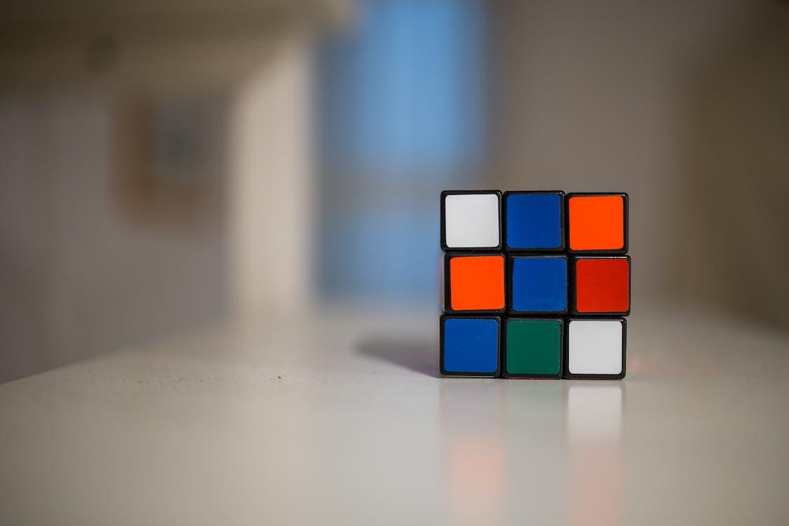 Blue and White Orange Green Rubik's cube