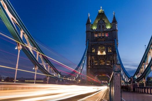 Free stock photo of traffic, lights, night, bridge