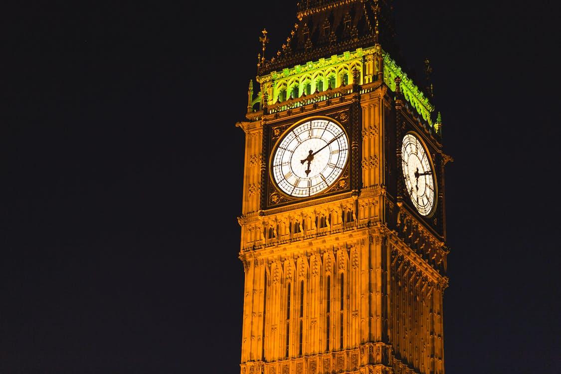 Brown Elizabeth Tower during Night Time