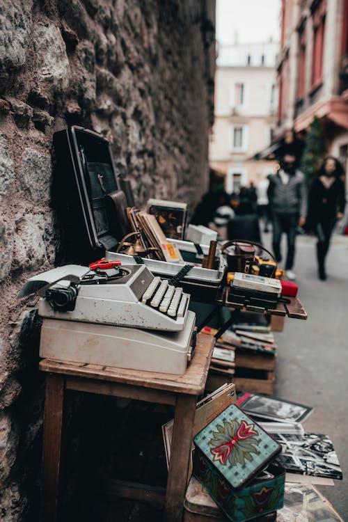 White Typewriter on Table