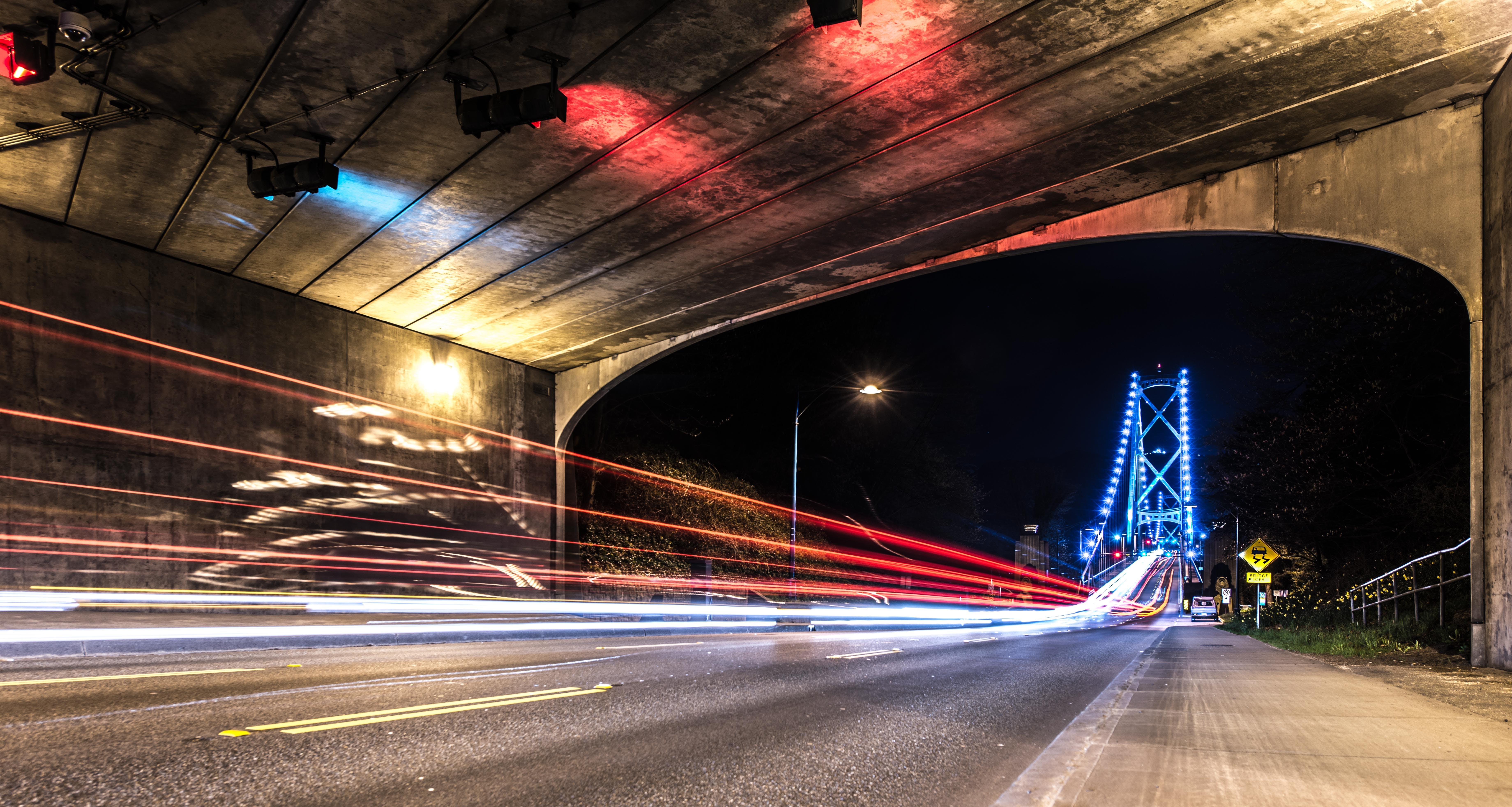 Long Exposure Photography of Vehicle Lights and Bridge