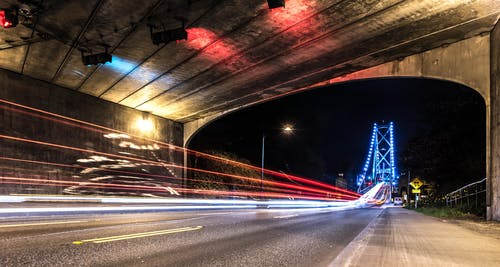 Long Exposure Photography of Vehicle Lights and Bridge