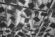 black-and-white, books, design