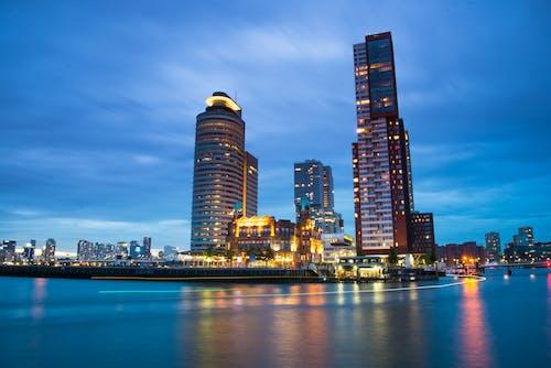 光反射, 全景, 商業, 城市 的 免费素材照片