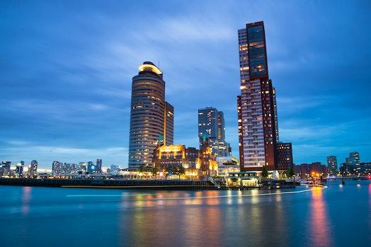 Free stock photo of sea, city, dawn, sunset